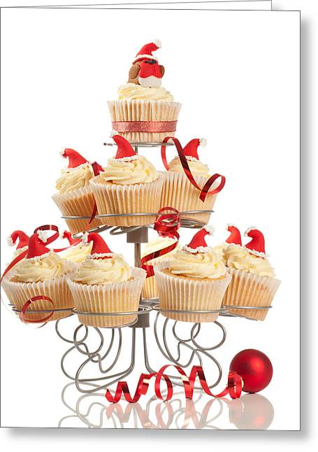 Christmas Cupcakes On Stand Greeting Card by Amanda Elwell