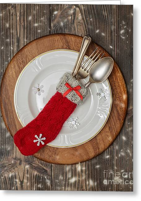 Antique Table Greeting Cards - Christmas Cutlery Greeting Card by Amanda And Christopher Elwell