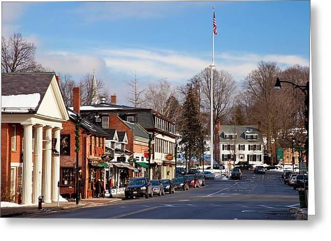 Christmas Day On Main Street, Concord Greeting Card by Brian Jannsen
