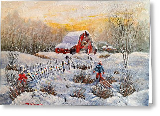 Sled.fence Greeting Cards - Christmas Day Sledding Greeting Card by Anthony DiNicola