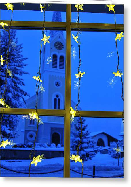 Snowy Evening Greeting Cards - Christmas decoration - yellow stars and blue church Greeting Card by Matthias Hauser
