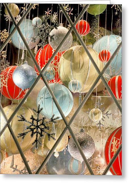 Christmas Decorations In Window Greeting Card by Anonymous