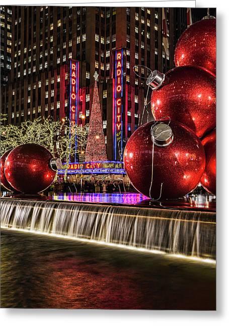 Christmas Decorations Near Radio City Greeting Card by F. M. Kearney