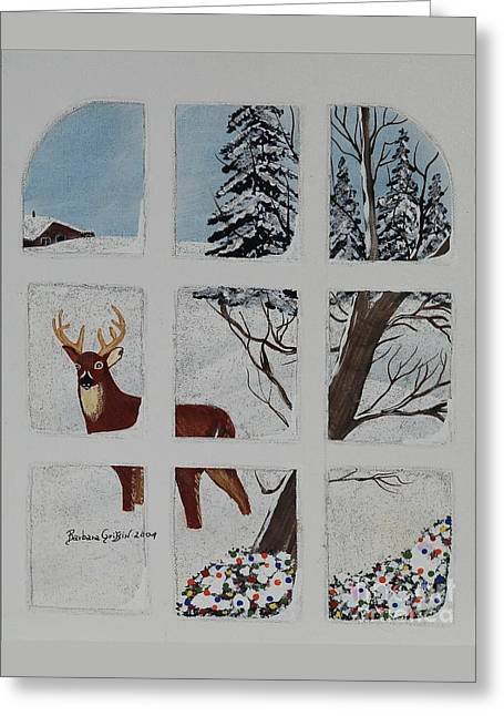 Winter Light Through The Trees Greeting Cards - Christmas Deer  Greeting Card by Barbara Griffin