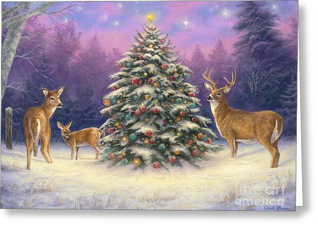 Christmas Trees Greeting Cards - Christmas Deer Greeting Card by Chuck Pinson