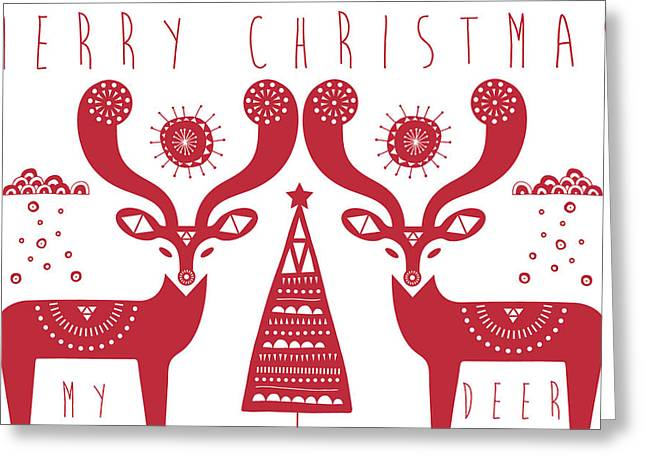 Christmas Deers Greeting Card by Susan Claire