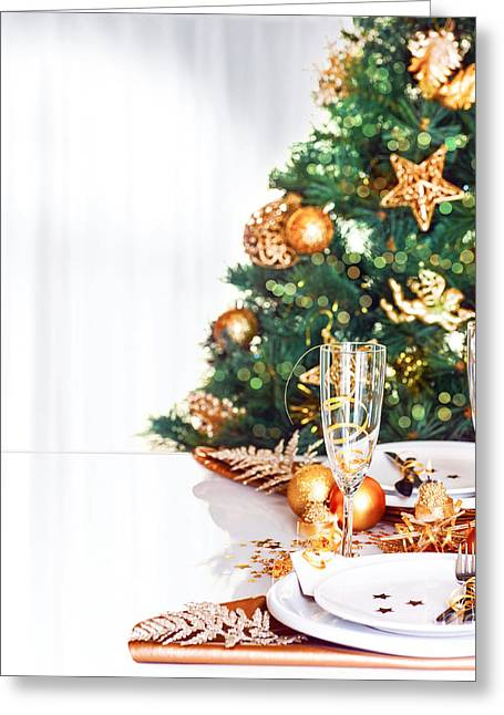 Champagne Glasses Greeting Cards - Christmas dinner border Greeting Card by Anna Omelchenko