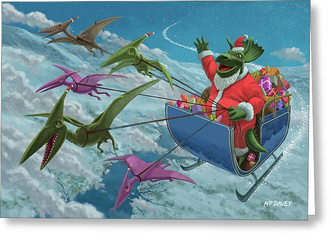 Christmas Eve Greeting Cards - Christmas Dinosaur Santa ride Greeting Card by Martin Davey