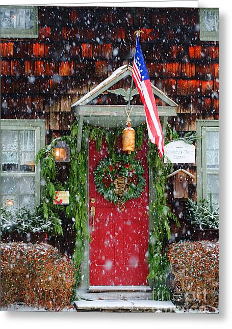 Christmas Doors Greeting Cards - Christmas Door Americana Greeting Card by AdSpice Studios