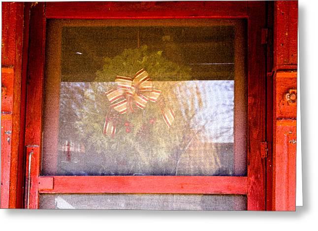 Screen Doors Digital Art Greeting Cards - Christmas Door Greeting Card by Audreen Gieger-Hawkins