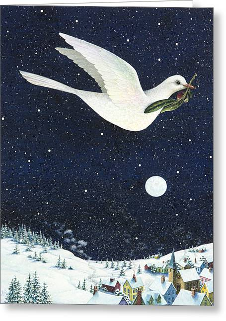 Olive Branch Greeting Cards - Christmas Dove Greeting Card by Lynn Bywaters