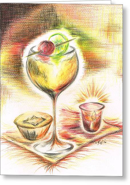 Toast Mixed Media Greeting Cards - Christmas Drink Greeting Card by Teresa White
