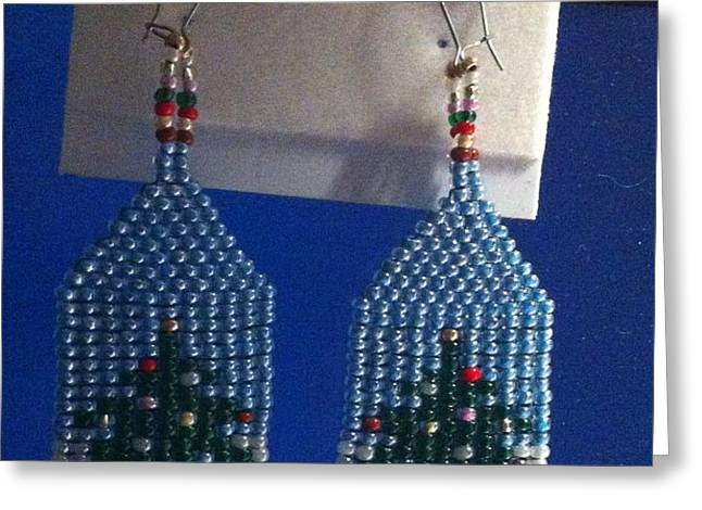 Christmas Earrings Greeting Card by Kimberly Johnson