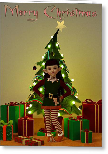 Elf Greeting Cards - Christmas Elf - Merry Christmas Greeting Card by Liam Liberty