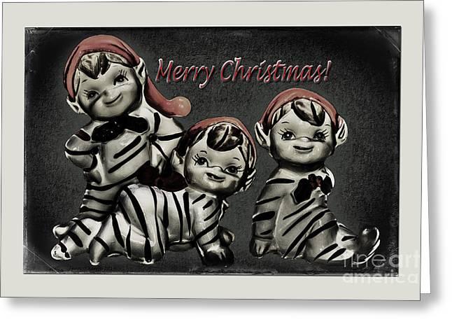 Pajamas Greeting Cards - Christmas Elves Greeting Card by Jean OKeeffe Macro Abundance Art