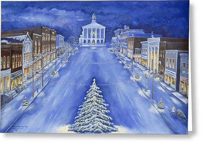 Christmas Eve 1947 Greeting Card by Carol Angela Brown
