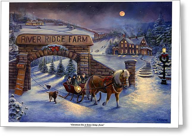 Franklin Farm Greeting Cards - Christmas Eve at River Ridge Farm Greeting Card by Frederick Carrow