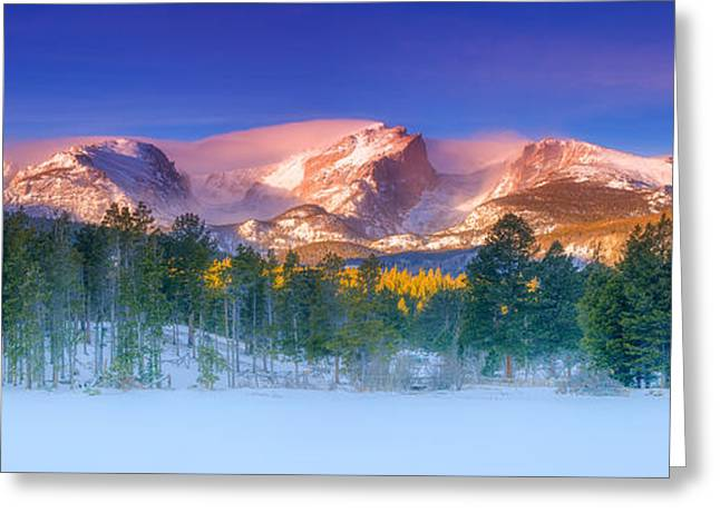 Rocky Mountains Greeting Cards Greeting Cards - Christmas Eve at Sprague Lake Greeting Card by Darren  White