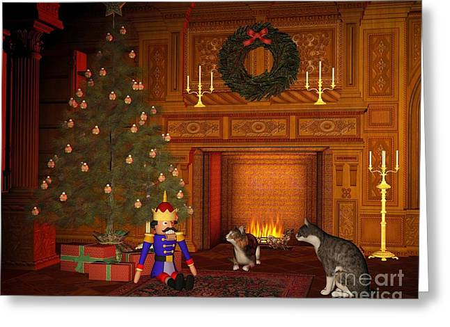 Grate Greeting Cards - Christmas Eve Cats by the Fire Greeting Card by Fairy Fantasies