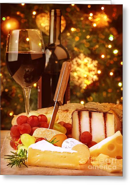 Indoor Still Life Greeting Cards - Christmas eve dinner  Greeting Card by Anna Omelchenko