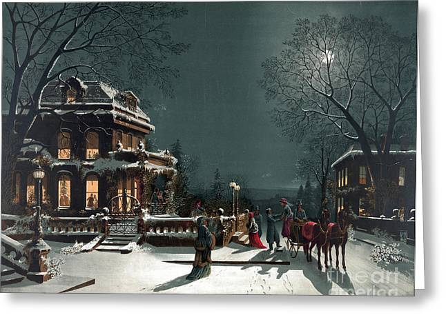 Horse And Buggy Greeting Cards - Christmas Eve Gathering Greeting Card by Photo Researchers