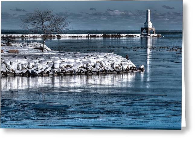 Recently Sold -  - Christmas Eve Greeting Cards - Christmas Eve Harbor Greeting Card by Jeffrey Ewig
