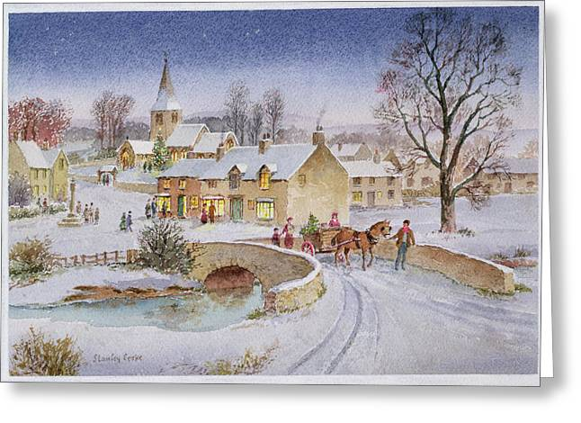 Horse And Cart Paintings Greeting Cards - Christmas Eve in the Village  Greeting Card by Stanley Cooke