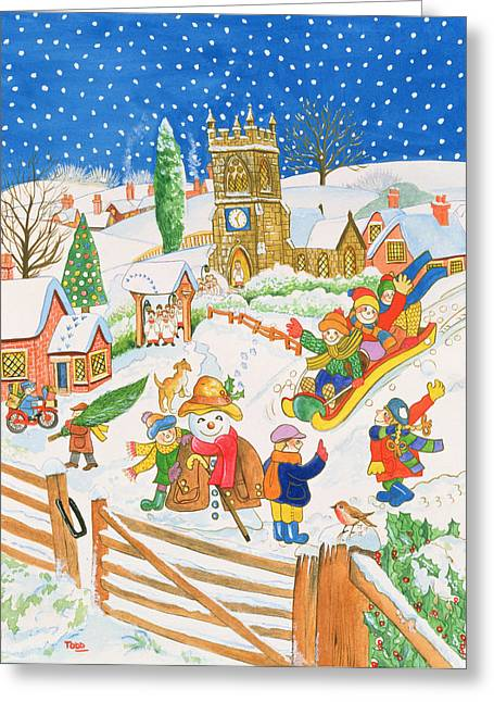 Tobogganing Greeting Cards - Christmas Eve In The Village Wc Greeting Card by Tony Todd