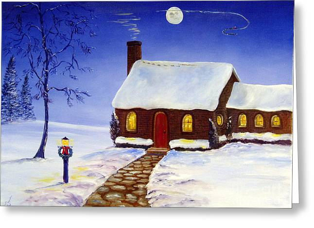 Lee Piper Art Greeting Cards - Christmas Eve Greeting Card by Lee Piper