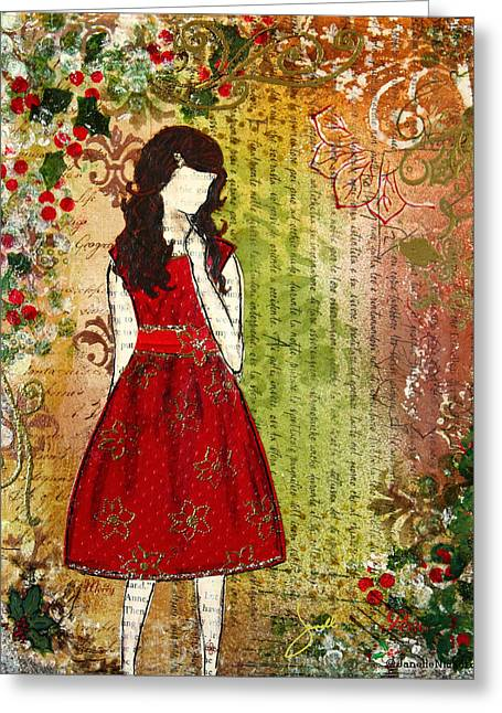 Janelle Nichol Greeting Cards - Christmas Eve mixed media Folk artwork of Young Girl Greeting Card by Janelle Nichol