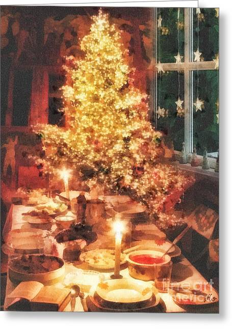 Christmas Eve Greeting Cards - Christmas Eve Greeting Card by Mo T