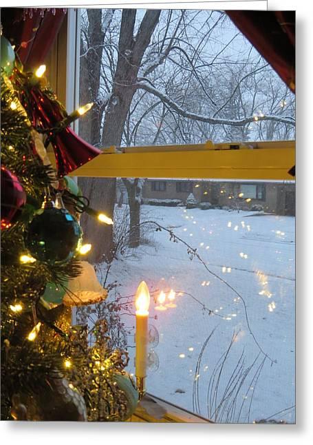 Christmas Eve Greeting Cards - Christmas Eve Snowfall Greeting Card by Elisabeth Ann