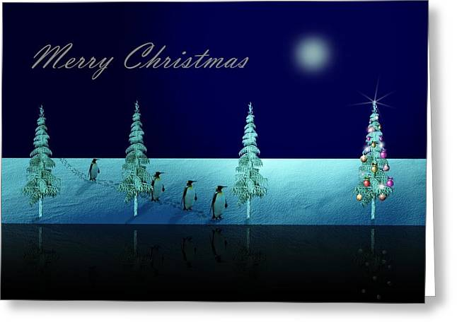 Christmas Eve Walk Of The Penguins  Greeting Card by David Dehner
