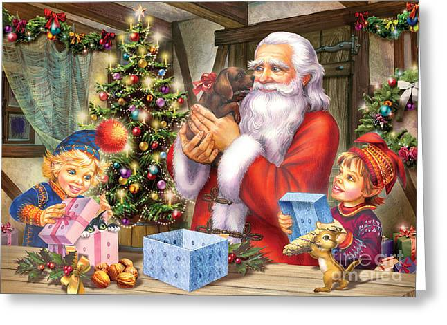 Toy Dogs Greeting Cards - Christmas Eve Greeting Card by Zorina Baldescu