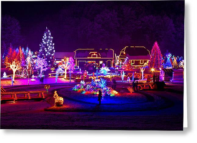 Night Lamp Mixed Media Greeting Cards - Christmas fantasy trees and houses in lights Greeting Card by Dalibor Brlek