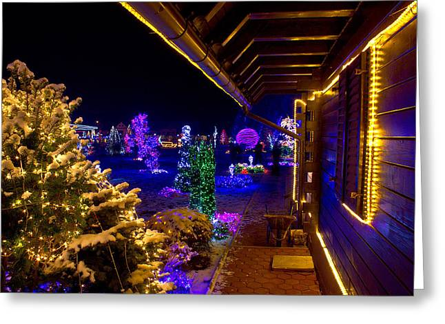Night Lamp Mixed Media Greeting Cards - Christmas fantasy trees and wooden house in lights Greeting Card by Dalibor Brlek