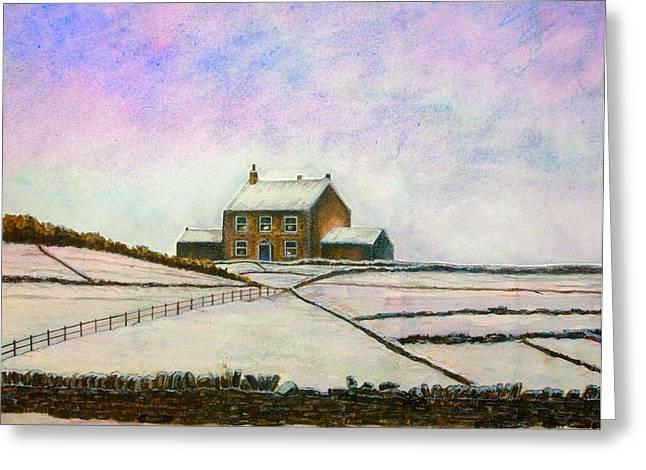 Watercolour Pastels Greeting Cards - Christmas Farm Greeting Card by Matthew David Evans