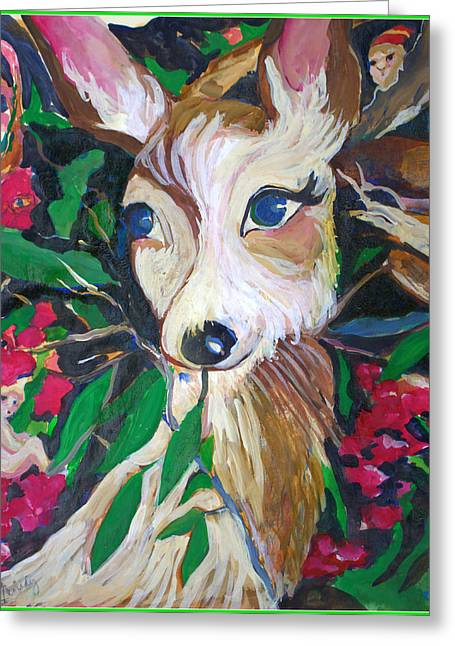 Fawn Mixed Media Greeting Cards - Christmas Fawn Greeting Card by Mindy Newman