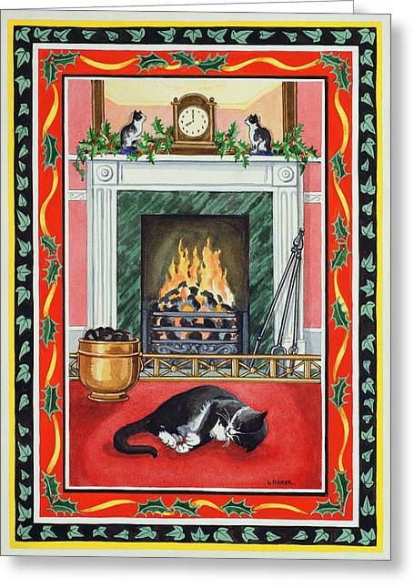 Grate Greeting Cards - Christmas Fire Greeting Card by Lavinia Hamer