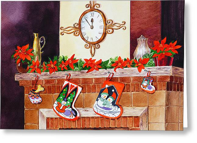 Family Time Greeting Cards - Christmas Fireplace Time For Holidays Greeting Card by Irina Sztukowski