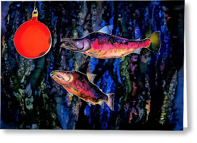 Surprise Tapestries - Textiles Greeting Cards - Christmas Fish Surprise Greeting Card by Carolyn Doe