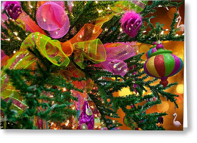 Gold Lime Green Greeting Cards - Christmas Flair Greeting Card by Paulette B Wright