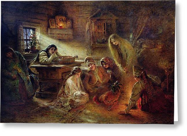 Destiny Photographs Greeting Cards - Christmas Fortune Telling Oil On Canvas Greeting Card by Konstantin Egorovich Makovsky