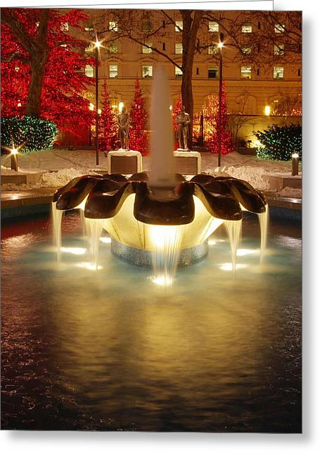 Salt Lake City Temple Greeting Cards - Christmas Fountain Greeting Card by David Andersen