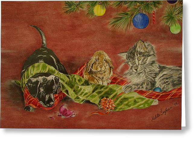 Melita Greeting Cards - Christmas friends Greeting Card by Melita Safran