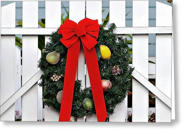 Christmas Season Blocks Greeting Cards - Christmas Garland Greeting Card by Art Block Collections