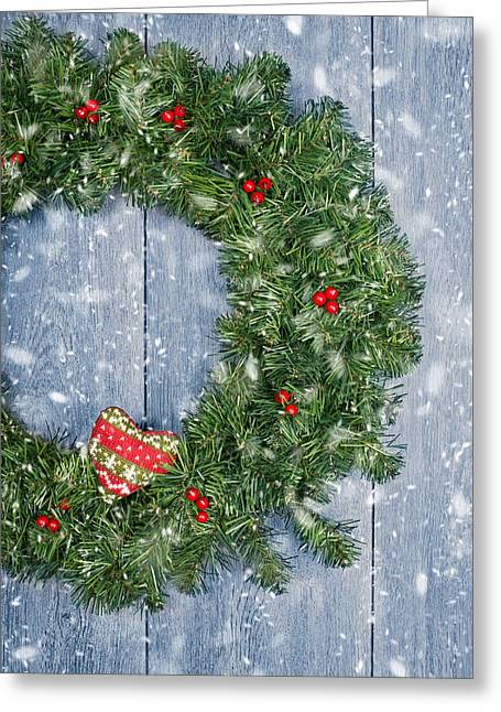 Christmas Doors Greeting Cards - Christmas Garland Greeting Card by Amanda And Christopher Elwell
