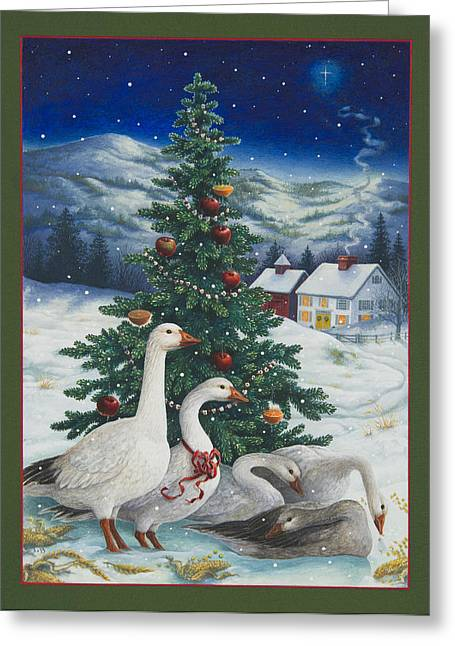 Snowy Night Night Greeting Cards - Christmas Geese Greeting Card by Lynn Bywaters