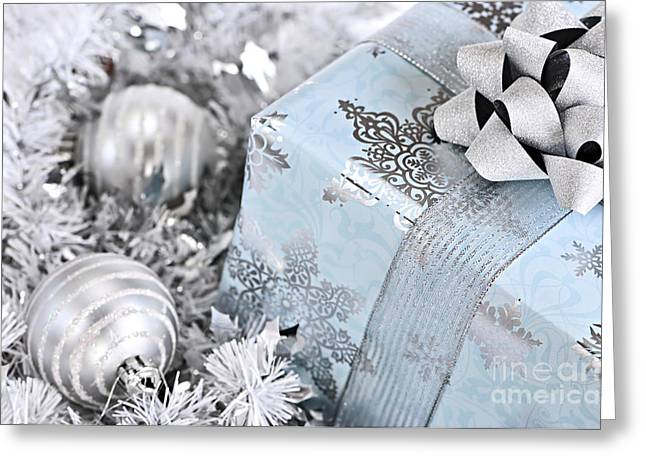 Gifts Photographs Greeting Cards - Christmas gift box and decorations Greeting Card by Elena Elisseeva