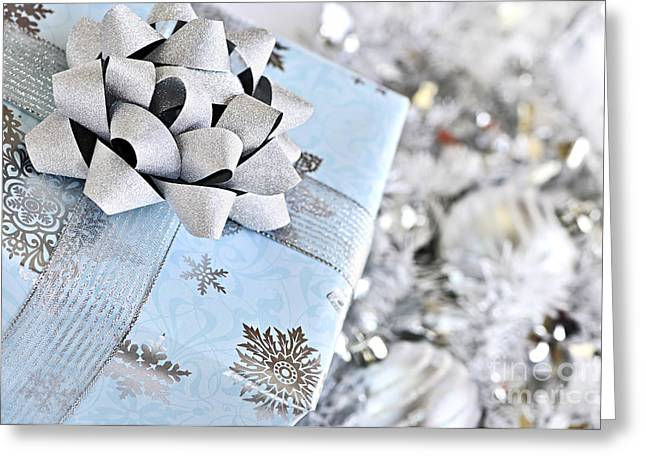 Wrapping Greeting Cards - Christmas gift box Greeting Card by Elena Elisseeva